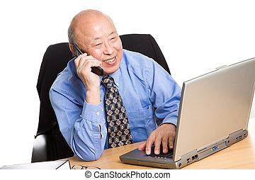 obchodník, starší, asijský, pracovní