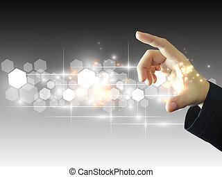obchodník, touchscreen, majetek