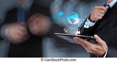 obchodník, ukazuje, novodobý technika