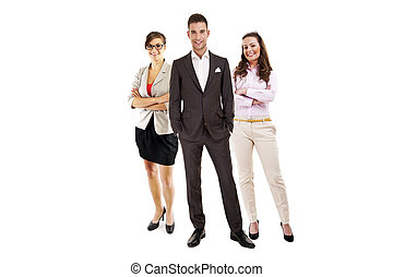 obchodník, vůdčí, jeden, business četa, a, usmívaní