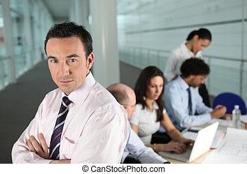 obchodník, vůdčí, jeden, zaneprázdněný, mužstvo