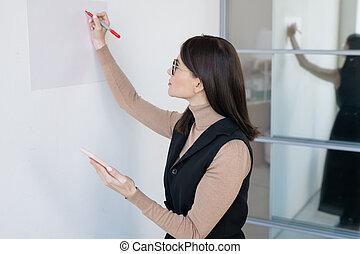 obchodnice, chod, mládě, během, autokar, nebo, napsat, věnování, whiteboard