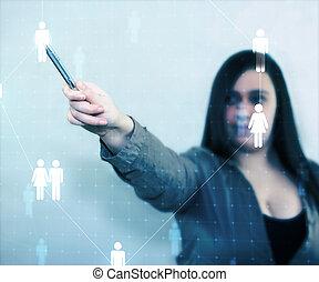 obchodnice, dotyk, společenský, síť