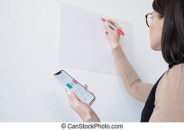 obchodnice, majetek, mládě, smartphone, autokar, nebo, graf, plynout