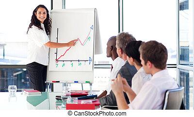 obchodnice, vysvětlit, jeden, graf, kamera