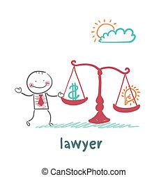 obciąża, adwokat, waga, idea, pieniądze
