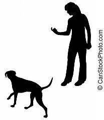 (obedience):, εκπαίδευση , command:, come!, σκύλοs