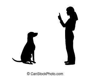(obedience):, addestramento, command:, cane, sedere