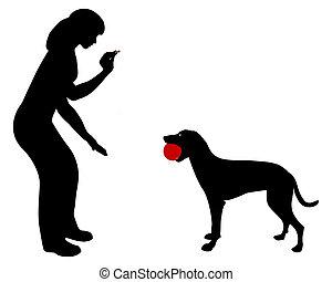 obedience:, befaling, hund, trade!