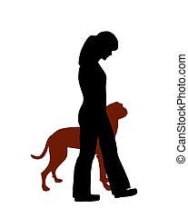 (obedience):, entrenamiento, comando, perro, tacón