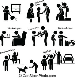 A set of human pictogram representing an obedient child activity.