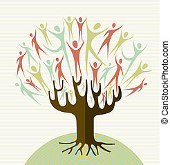 obejmout, rozmanitost, strom, dát