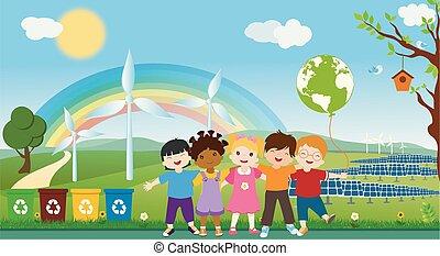 obejmować, eco-przyjacielski, multi-ethnic, oprócz, różny, ekologiczny, ekologia, oneness, razem, do podtrzymania, energy., globalny, czysty, środowisko, dzieci, planet., world., kultury