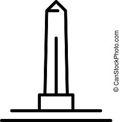 obelisco, icono, estilo, contorno, egipcio