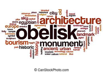 obelisco, palabra, nube