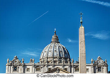 Obelisk and dome in Saint Peter's square
