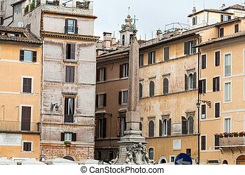 Obelisk and Fountain of the Pantheon at Piazza della...