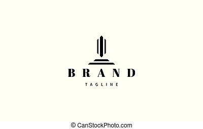 obelisk., imagen, logotipo, resumen, vector