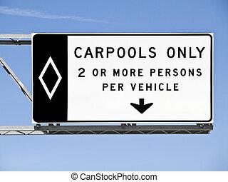 oben, autobahn, carpool, nur, zeichen, freigestellt