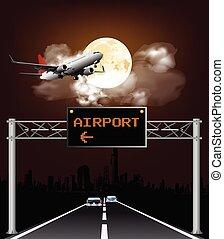 oben, zeichen, flughafen, portal