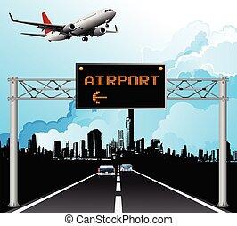 oben, zeichen, portal, flughafen