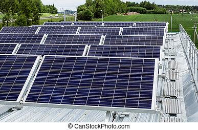 oberfläche, von, der, a, solarmodul, auf, dach