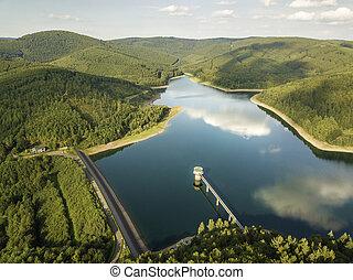obernau, jezioro, siegerland, niemcy, matka