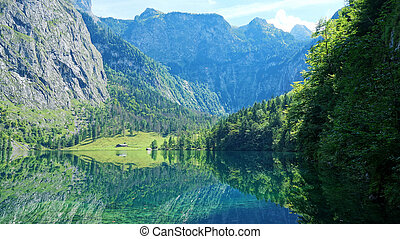 An image of the beautiful Obersee in Bavaria Germany