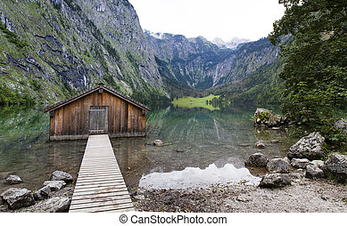 Boathouse at Obersee, Berchtesgaden, Germany