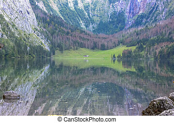 The beautiful Obersee (upper lake) nearby the popular Bavarian Konigssee (king's lake) in Germany