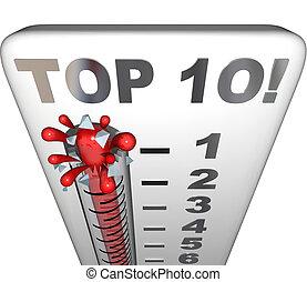 oberseite, 10, thermometer, zehn, am besten, wahlen, kritik, auszeichnung, bewertung