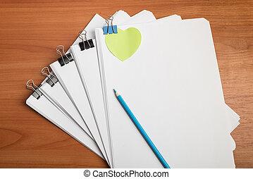 oberseite, arbeit, papier, tisch, dokument, ansicht
