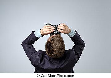 oberseite, binoculars., sichtung, klage, ansicht., mann
