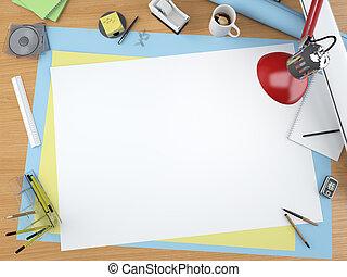 oberseite, entwerfer, ansicht, schreibtisch