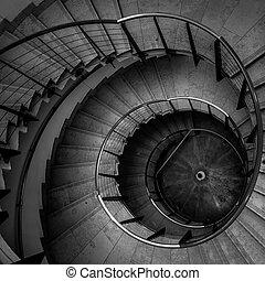 oberseite, geschwungene treppe, ansicht