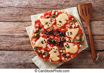 oberseite, halloween, pizza, spinnen , close-up., geister, ...
