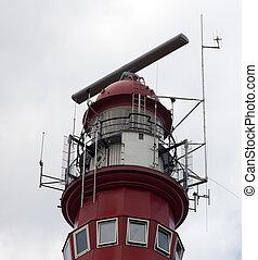 oberseite, leuchturm, rotes , niederländisch