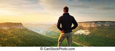 oberseite, mountain., mann