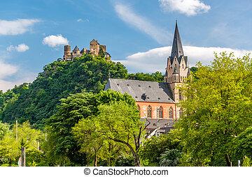 oberwesel, rin, schonburg, iglesia, nuestro, castillo, valle...