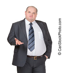 Obese businessman making a point - Obese businessman in a ...