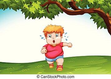 Obese child running outside