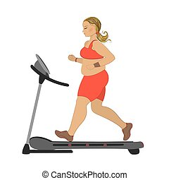 obese girl running on a treadmill