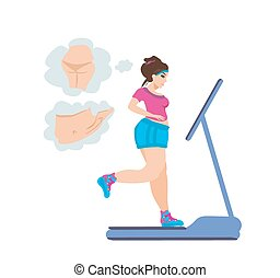 obese girl runs on a treadmill