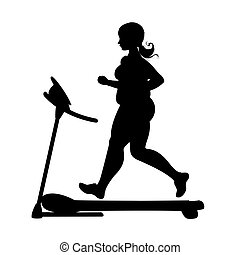 obese girl  silhouette running on a treadmill