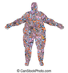 Obese human body silhouette made from bacteria