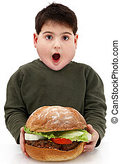 Hungry obese child with giant hamberger over white.