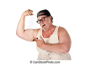 Obese man flexing muscles in tee shirt on white background -...