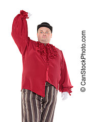 Obese man in a red costume and bowler hat - Very fat man in...