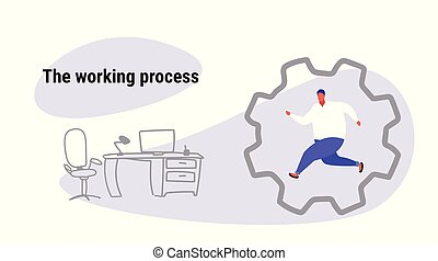 obese man running in cog wheel deadline working process concept fat over size male office worker inside corporate machinery gearwheel cabinet interior sketch doodle horizontal