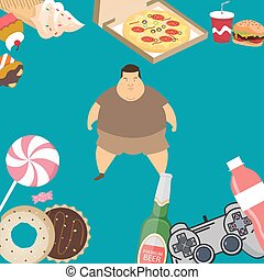 obese overweight man kids eating sugar candy donut junk food